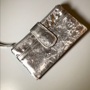 Fossil silver metallic leather wallet